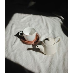 small ivory speckled teapot